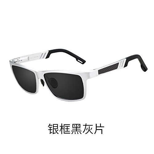 sol del de Gafas negra sol ceniza vehículo de plateado gafas anteojos tendencias Hombre Ash KOMNY conducción polarizados personalidad Black Silver Marco de Frame conductor de ojos nZqF66z