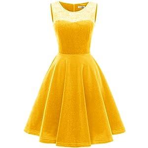 a3627bea11b9ed MUADRESS 6009 Sleeveless Short Velvet Party Dress Stretchy Yellow 2XL