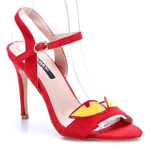 0c1d853a77659b Schuhtempel24 Damen Schuhe Sandaletten Sandalen Stiletto 10 cm High Heels  Rot
