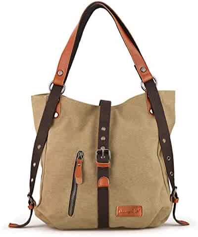 5167d279c SHANGRI-LA Purse Women's Canvas Tote Bag Casual Shoulder Bag Handbag  Rucksack Convertible Backpack