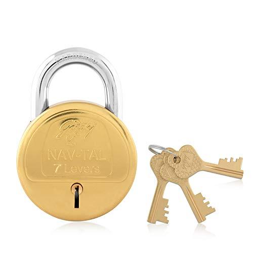 Godrej Locking Solutions and Systems Navtal Key Padlock (Gold, Brass Finish)