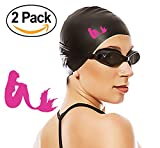 Organically Youthful Health & Skincare (2 Pack: Black & Pink Mermaid) Silicone Swim Caps for Long Hair, Swim Cap for Women & Girls