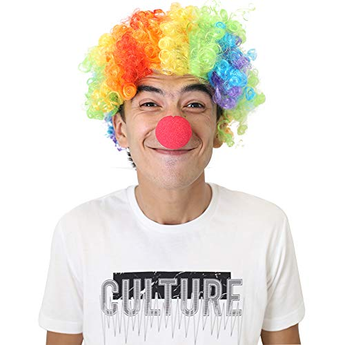 Bozo The Clown Wig (LoveInUSA Clown Wig and Foam Clown Nose, Rainbow Wig Clown Costume Circus Costume Clown Hair for Clown Parties Carnivals Pretend)