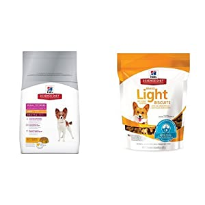 Hill's Science Diet Adult Small & Toy Breed Light with Chicken Meal & Barley Dry Dog Food (15.5 pound bag) and Hill's Science Diet Baked Light Biscuits with Real Chicken Small Dog treats (8 ounce bag)