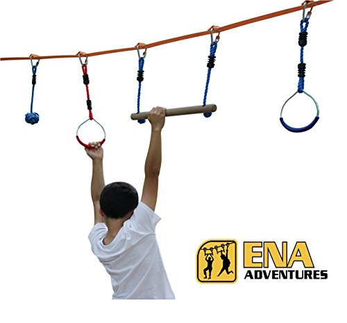 Outdoor Obstacle Course Equipment - 46 Foot Ninja Slackline with 14 Sewn Sleeves to fix 7 Hanging Obstacles. American Ninja Warrior Training. Swing on the Monkey Bars Playground Equipment. Sports Bag.