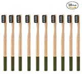 fibgihc 10pcs Soft Bristles Toothbrushes,Round Handle Natural Bamboo Material Toothbrush