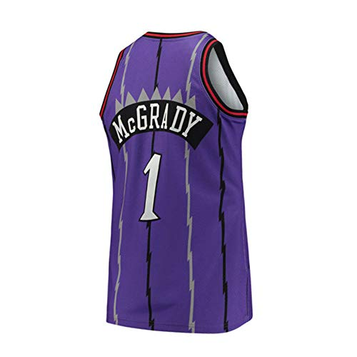 Yshffz Mens McGrady Jersey Retro Tracy Toronto Basketball Throwback Swingman #1 Purple (Large)