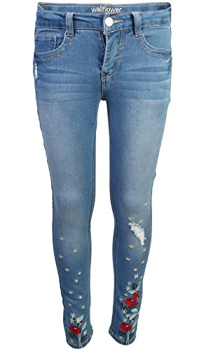 WallFlower Girl's Skinny Soft Stretch Jeans with Rips and Tears, Light Wash/Floral 8 by WallFlower Jeans