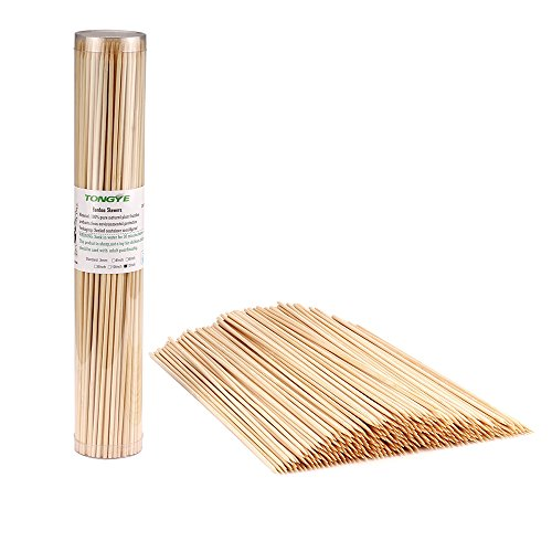 "TONGYE Premium Natural BBQ Bamboo Skewers for Shish Kabob, Grill, Appetizer, Fruit, Corn, Chocolate Fountain, Cocktail and More Food, More Size Choices 4""/6""/8""/10""/12""(200 PCS)"