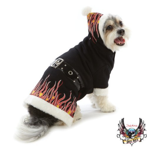 Pets Rock Holiday Flame Hoodie Dog Pupper Winter Jacket Small