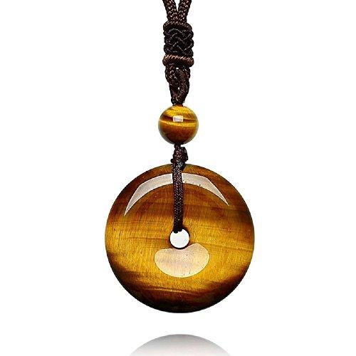 AmorWing Adjustable Round Donut Tiger Eye Pendant Grounding Stone Protection Necklace (Pendant Eye Circle)