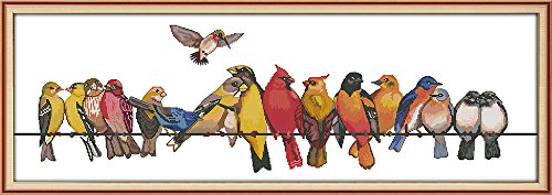 CaptainCrafts Hot New DIY Art Cross Stitch Kits Needlecrafts Patterns Counted Embroidery Kit - A Group of Birds Family (White)