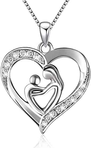 BLOVIN Sterling Silver Mother and Child Love Heart Pendant Necklace, Box Chain 18'