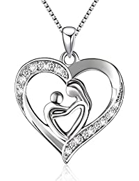 Sterling Silver Mother and Child Love Heart Pendant...