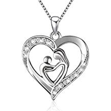 BLOVIN S925 Sterling Silver Mother and Child Love Heart Pendant Necklace Mom Gifts,Box Chain 18'
