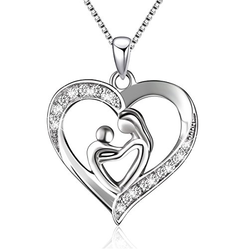 (Sterling Silver Mother and Child Love Heart Pendant Necklace,Box chain 18')
