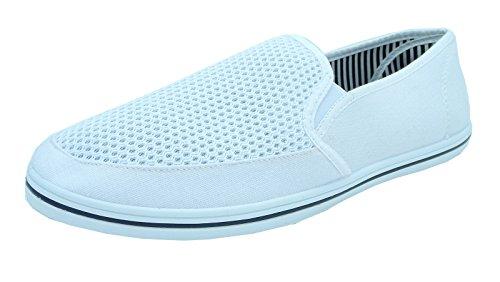 Mens DEK Denim Canvas Slip On Yachting Deck Shoes Pumps Blue Size 6 7 8 9 10 11 12 White