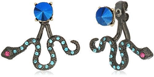 Betsey Johnson Womens Blue And Gold Snake Front Back Earrings