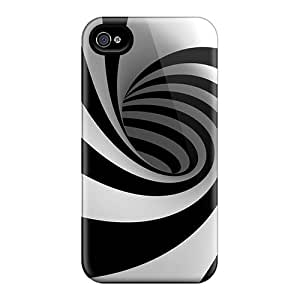 Premium Durable Black And White Swirl Fashion Tpu Iphone 4/4s Protective Case Cover
