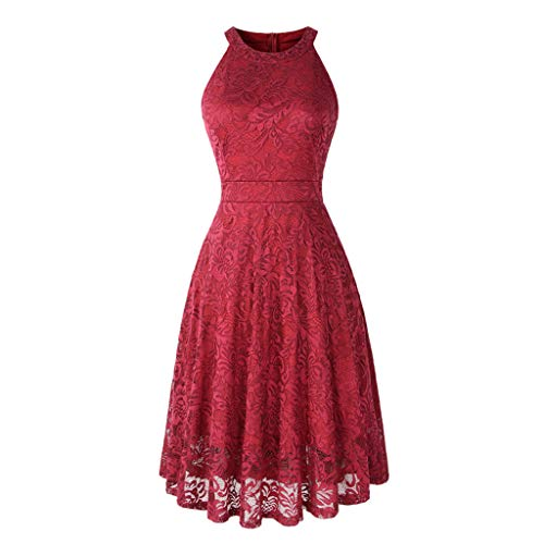 ZSBAYU Women's Floral Lace Dress Short Bridesmaid Dresses with Sheer Neckline Party Dress Short Prom Dress Swing Dress(Red,S)