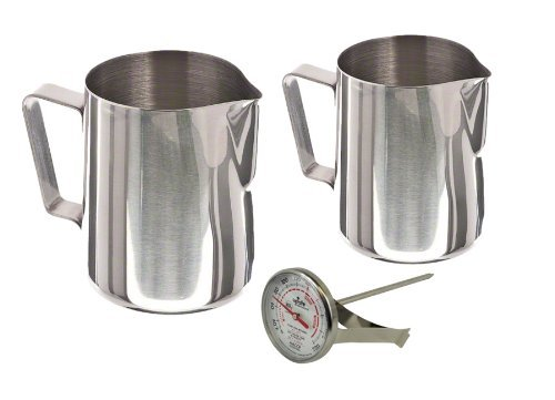 Pitcher Thermometer Frothing - ChefLand 12-Ounce and 20-Ounce Stainless Steel Frothing Pitcher Set with Thermometer