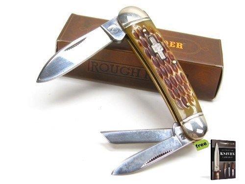 (ROUGH RIDER Amber Jigged Bone WHITTLER 3 Carbon Steel Razor Sharp Blade Pocket Folding Knife + Free eBook by SURVIVAL STEEL)