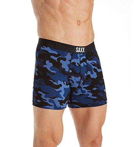 Saxx Underwear Men's Boxer Briefs - Vibe Men's Underwear - Boxer Briefs with Built-in Ballpark Pouch Support - Underwear for Men, Blue Camo,X-Large