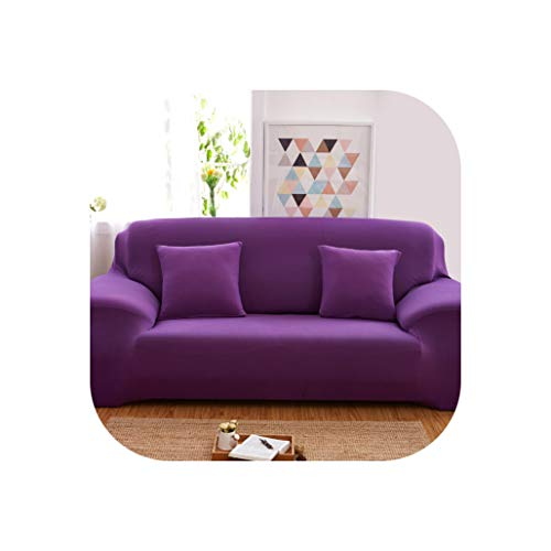 (Easy-S-E-H Solid Color Sofa Cover Stretchable Couch Cover,Purple,4-Seater 235-300cm)