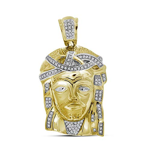 Jewels By Lux 10k Yellow Gold Mens Real Diamond Jesus Christ Piece Large Charm Pendant 1/4 Cttw In Pave Setting (I2-I3 clarity; J-K color)