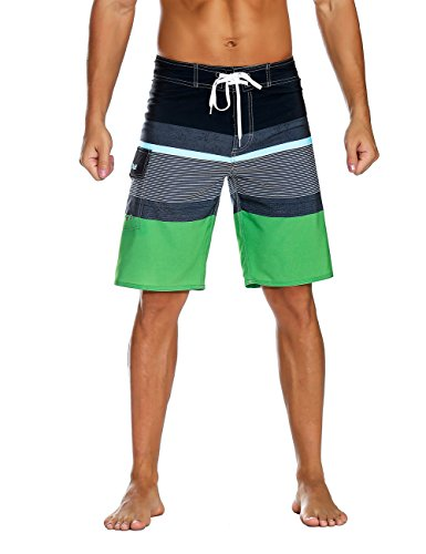 Nonwe Men's Sportwear Quick Dry Board Shorts with Lining Black&Green 28