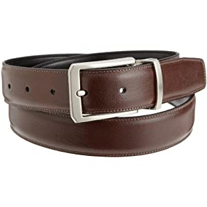 Perry Ellis Mens Square Hale Belt, Brown/Black, 32 SP