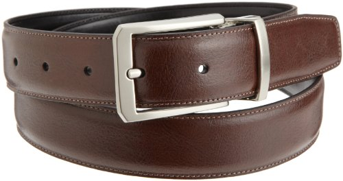Perry Ellis Mens Square Hale Belt, Brown/Black, 36 SP (Perry Ellis Brown Belt)