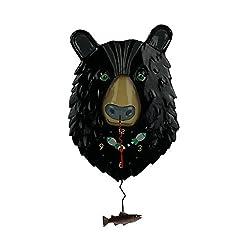 Allen Designs Burly Bear Whimsical Bear Face Pendulum Wall Clock