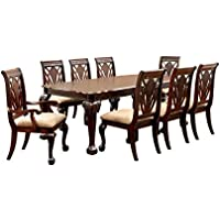 Furniture of America Bonaventure 9-Piece Traditional Style Dining Set, Cherry Finish