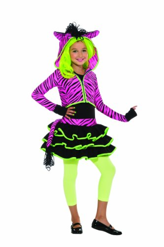 Neon Pink Zebra Hoodie Costume, (Party Rock Zebra Costume)
