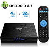 T9 Android 8.1 TV Box 4GB DDR3 RAM 32GB ROM RK3328 Bluetooth 4.0 Quad-Core Cortex-A53 64 Bits Support 2.4GHz WiFi 4K 3D Ultra HD HDMI H.265