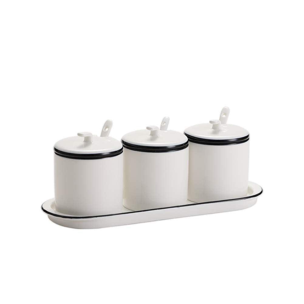 White Ceramic Sugar Bowls Condiment Pots Spice Jars Seasoning Box Set with Lid Spoon and Tray-Sets of 3