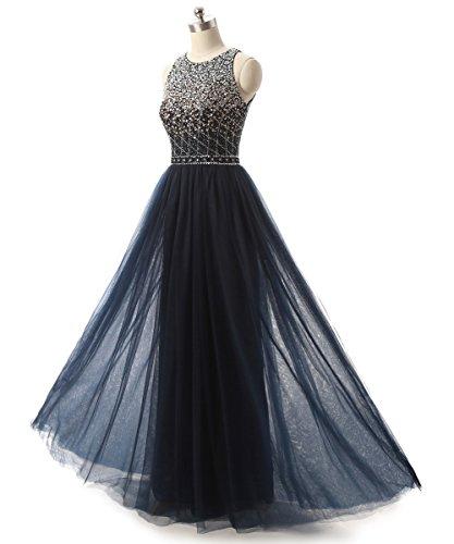 Abiballkleid Damen Abschlussballkleid Abendkleider Ballkleider Hals Lang Marineblau Hoher Callmelady qz0CwFH