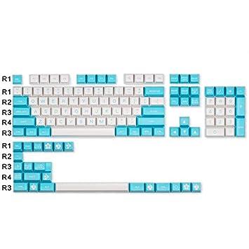 SSSLG Teclado mecánico keycap, AS Altura Teclado mecánico, Material ABS, Azul y Blanco