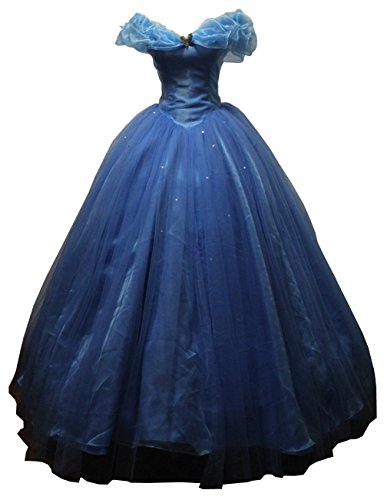 Women's Cinderella Cosplay Dress Halloween Party Costume Blue for Adult or Girls (Adult Cinderella Dress)