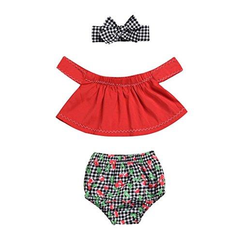 Efaster 3Pcs Baby Girls Off Shoulder Tops+Flower Print Plaid Shorts+Headband Set