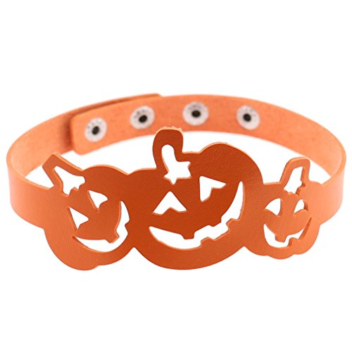 Women Halloween Stylish Punk Hollow Leather Choker Collar Pumpkin Lantern Bib Necklace Charm Jewelry (Stylish Halloween)