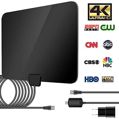 TV Antenna Indoor HDTV Digital Amplified Clear Antenna 50-80 Miles Range HD Digital TV Antenna Support 4K 1080p with Amplifier Signal Booster 13ft Coaxial Cable - VHF UHF Freeview TV Local Channels