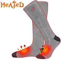 Rechargeable Electric Heated Socks,Men Women Battery Operated Heating Socks,Sports&Outdoors Winter Warm Thermal Heated Sock,Climbing Hiking Skiing Hunting Heated Sox,Upgraded Foot Warmer(Black/Grey,L)