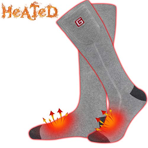 3.7V Men Women Rechargeable Electric Heated Socks Battery Operated Heat Sox Kit,Sports Outdoor Winter Warm Thermal Insulate Socks,Footwarmer for Climb Hike Ski Hunt,3 Heat,Temparature Adjustable(Grey)