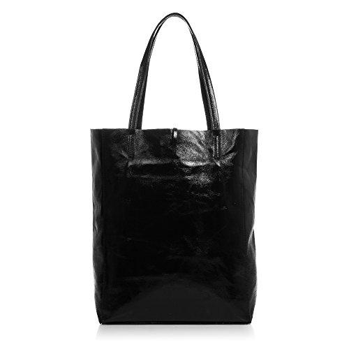 Negro ITALY in fiesta bag piel de Bolso mujer Made Color cm Shopper mujer ITALIANA shopping Bolso Bolso FIRENZE hombro Acabado VERA mujer 40x37x13 NEGRO ARTEGIANI metalizado Bolso PELLE auténtica 5 CwnHRxqA