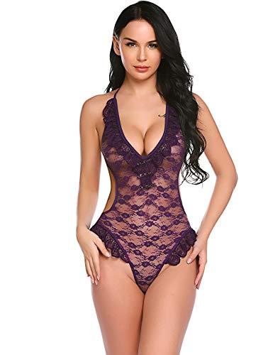 ELOVER Women Lingerie Teddy Deep V Halter One Piece Babydoll Mini Lace Bodysuit Purple