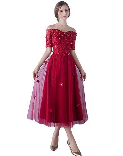 Hochzeit Brautjungferkleid Kleid Blumen Hülsen Halbe Burgund Erosebridal St8vgg