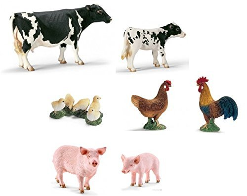 Schleich World of Nature Farm Animals Series 2 with New Pigs (Pig 13782 and Piglet 13783), Holstein Cow 13633, Calf 13634, and Chickens (13645, 13646, 13648) all in a gift bag!