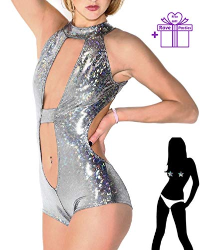 Rave Romper Sexy EDM Clothing Metallic Disco Silver Holographic Shiny Glitter 2019 (XL 06-08) for $<!--$29.99-->